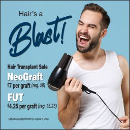 FLASH SALE TIME. Check out our sale on Hair Transplants. Let this summer be the time you do something about hair loss that's bothering you.